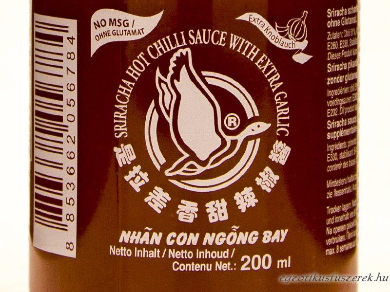 Sriracha Extra Fokhagymás Chiliszósz
